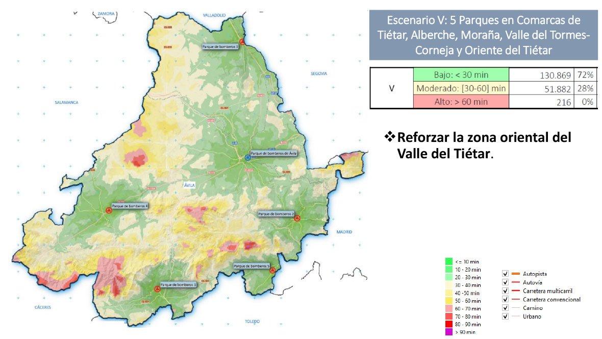 Situación tras la construcción de los Parques de Bomberos, con un tiempo de respuesta por debajo de 30' para el 72% de la provincia